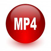 mp4 red computer icon on white background