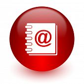 address book red computer icon on white background