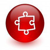 puzzle red computer icon on white background