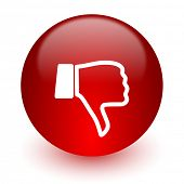 dislike red computer icon on white background
