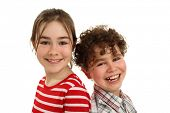 Portrait of young girl and boy isolated on white background