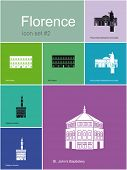 Landmarks of Florence. Set of flat color icons in Metro style. Raster image