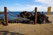 Yellow Lifeguard Chair Cabin  In Spain  Lanzarote  Rock Stoner  Mer