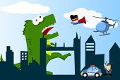 stock photo of giant lizard  - a comical city with monster - JPG
