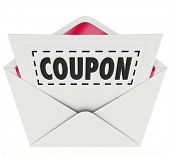 foto of coupon  - Coupon word with dotted line around it in an envelope for you to cut out and save - JPG