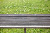 picture of pubic  - Wooden bench at pubic park in summer season - JPG
