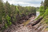 Dry Stone Riverbed Of Vuoksa River. Imatra, Finland