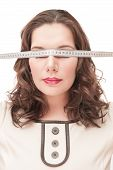 Plus Size Woman Blindfold With Centimeter