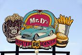 Sign for the Famous Mr. D'z Route 66 Diner in Kingman Arizona