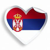 Heart Sticker With Flag Of Serbia Isolated On White