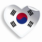 Heart Sticker With Flag Of South Korea Isolated On White