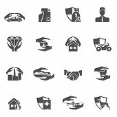 picture of car symbol  - Insurance security icons black set of real estate property health car protection isolated vector illustration - JPG