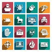 pic of computer hacker  - Hacker white flat icons set with spy technologies computer danger and protection isolated vector illustration - JPG