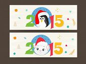 Website header or banner set for Happy New Year and Merry Christmas celebrations.