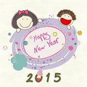 Creative greeting card design with cute kids enjoying and celebrating Happy New Year 2015.