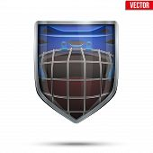 Bright shield in the ice hockey helmet inside. Vector.