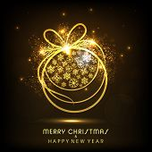 Merry Christmas and Happy New Year celebrations with snowflakes decorated golden X-mas ball on shiny brown background.