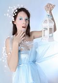 Snow queen on blue background