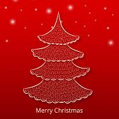 Stylish X-mas tree on star decorated red background for Merry Christmas celebrations.