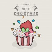 Merry Christmas celebration concept with colorful cup cake on heart and stars decorated  grey background.
