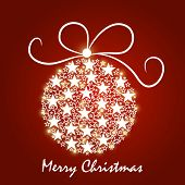 Beautiful X-mas ball decorated with shiny stars on red background for Merry Christmas celebrations.