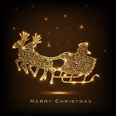 Beautiful golden Santa Claus sleigh with stylish text  Merry Christmas on shiny brown background.