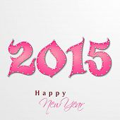 Happy New Year 2015 celebrations greeting or invitation card design with creative stylish pink text on grey background.
