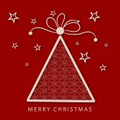 Merry Christmas greeting card with stylish X-mas tree on stars decorated red background.