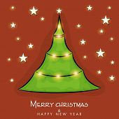 Merry Christmas and Happy New Year poster with Stylish X-mas tree on stars decorated  background.