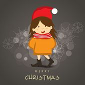Merry Christmas greeting or invitation card with cute little girl in Santa cap on snowflakes decorated grey background.