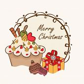 Merry Christmas stylish frame with gift box, delicious cupcake and X-mas ball on beige background.