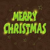 Merry Christmas celebration poster, banner or flyer with stylish text on snowflakes decorated brown background.