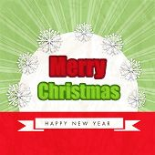 Stylish text decorated with snowflakes on stylish background for Merry Christmas and Happy New Year celebrations, can be used as poster, banner or flyer.