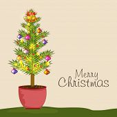 Merry Christmas celebration concept with X-mas ball decorated fir plant on beige background.