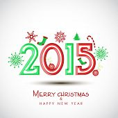 Merry Christmas and Happy New Year 2015 poster with stylish text on X-mas ornaments decorated shiny background.