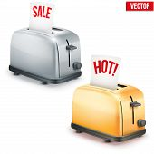 Set of Bright retro toasters with message SALE and Hot. Vector