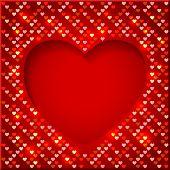 Valentine's Day bright frame with shiny hearts