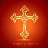 Golden floral decorated Religious Christianity Cross on red background for Merry Christmas celebrations.