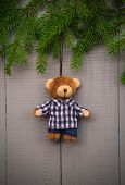 Christmas Setting Composition Gifts Forest Teddy Bear