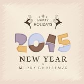 Stylish text and reindeer on stylish background for Merry Christmas, New Year and Happy Holidays celebrations.
