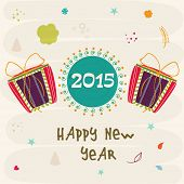 Happy New Year poster decorated with colorful gift boxes and stylish text on abstract background.