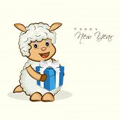 Happy New Year celebration with cute cartoon of sheep holding gift box, can be use as poster, banner or flyer.