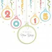Happy New Year celebration concept with colorful hanging text and ribbons on white background.
