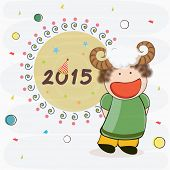 Stylish text 2015 with cute little girl wearing sheep horns on abstract background for Happy New Year celebrations.