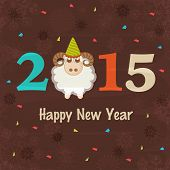 Colorful text 2015 with sheep on snowflake decorated brown background for Happy New Year celebrations.