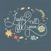 Stylish text decorated with beautiful floral design on blue background for Happy New Year 2015 celebrations.