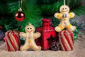 Gingerbread Toys Near Christmas Tree