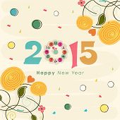 Happy New Year 2015 text with clock showing almost twelve 'o' clock on floral design decorated background, can be use us poster, banner or flyer.