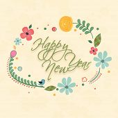 Stylish text decorated with beautiful floral design, greeting card for Happy New Year celebrations.