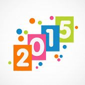 Happy New Year greeting card with stylish text 2015 on abstract background.